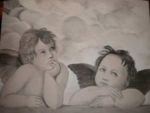 Cherubins d'apres Raphael dans dessin au crayon ETIQUETTE-DU-9FEV2012-001-300x225