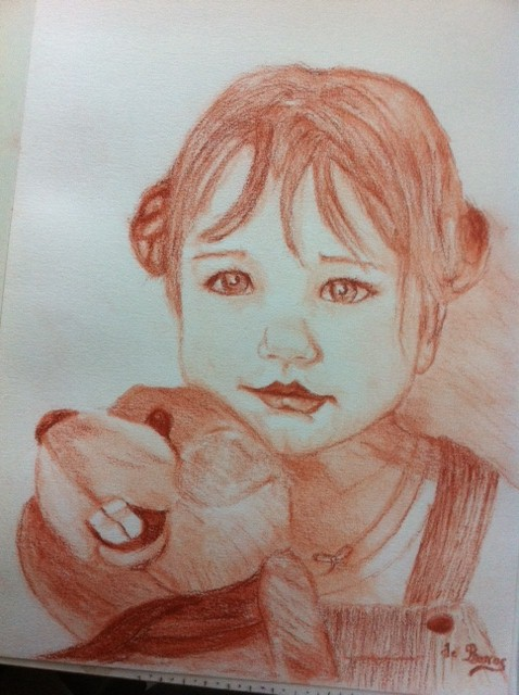 Maeline dans dessin au crayon photo